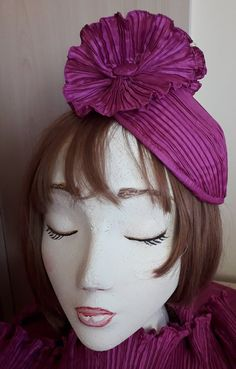 Special Occasion Wear Mini Hat fascinator in Magenta silk 'fortuny' pleated Headdress with pleated silk flowers and button stud. Occasion Wear, Special Occasion, Bridal Wedding Shoes, Satin Shoes, Lace Embroidery, Beaded Lace, Headdress, Silk Flowers, Crystal Beads