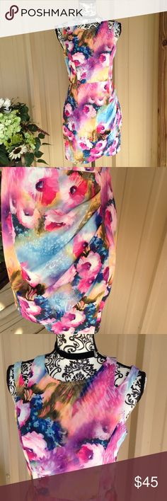 Oxford Circus Watercolor Ruched Wrap Dress Cut out shoulders, zip up back. Colors of pink, white, plum, Blue, peach, magenta, and green. Very high-quality. Wrap skirt with side ruching. Oxford circus. SZ large. Oxford Circus Dresses Mini