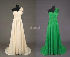 one shoulder bridesmaid dress long prom dress green by okbridal, $119.00