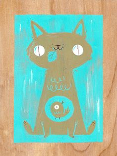 Kali Meadows | flickr | cat art | fish in belly