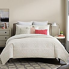 image of Real Simple® Lucia Reversible Duvet Cover in White/Coral/Taupe