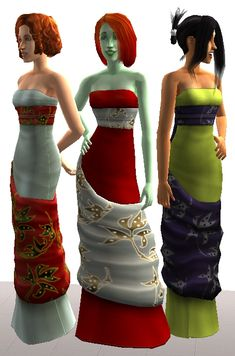 Mod The Sims - 2 Sets of Formal Dresses for Teens - Sims Store Conversions