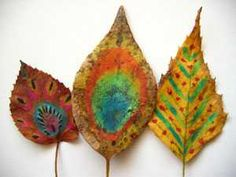 Painting on leaves -- takes a lot of prep work according to this site, but it would be a fun fall project -- I'm thinking they could study a famous painting and re-create it on the leaf!