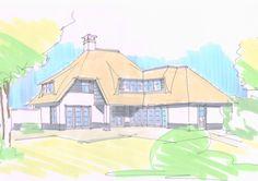 speelse nieuwbouw villa met roedes, wit stucwerk, veranda en verspringende rietlijn