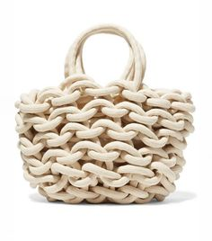"""New Cheap Bags. The location where building and construction meets style, beaded crochet is the act of using beads to decorate crocheted products. """"Crochet"""" is derived fro Capsule Wardrobe Essentials, Cotton Rope, Woven Cotton, Cotton Bag, White Cotton, Marc Jacobs Handbag, Designer Wallets, Bead Crochet, Crochet Bags"""