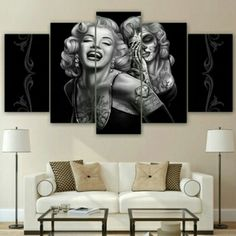 5 Panel Print Decor, Marilyn Monroe Canvas Set, Beautiful Sugar Skull Painting Wall Art Canvas, Portrait Wall Prints, Home Decoration Gift by ArtCubby on Etsy Marilyn Monroe Painting, Canvas Wall Art, Wall Art Prints, Poster Prints, Canvas Prints, Framed Canvas, Canvas Fabric, Posters, Tatoo
