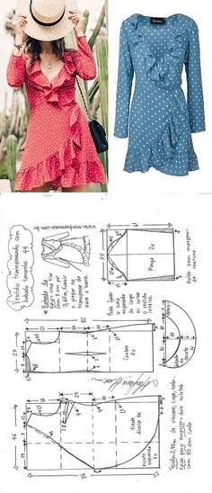 Шитье простые выкройки - Vestido transpassado com babados – DIY – molde, corte e costura – Marlene Mukai // Taika Infor - Diy Clothing, Clothing Patterns, Dress Patterns, Coat Patterns, Sewing Dress, Diy Dress, Wrap Dress, Fashion Sewing, Diy Fashion