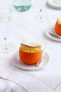 Orange Grand Marnier Soufflé, IndianSummer (good idea for dinner party; oranges, eggs, sugar, cornstarch, orange juice & zest, milk, Grand Marnier)