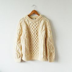 Chunky Vintage Fishermans Sweater in Cream by thehappyforest