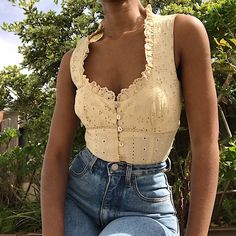 Beautiful pale beige/nude eyelet top by Nanette Lepore. with - Depop