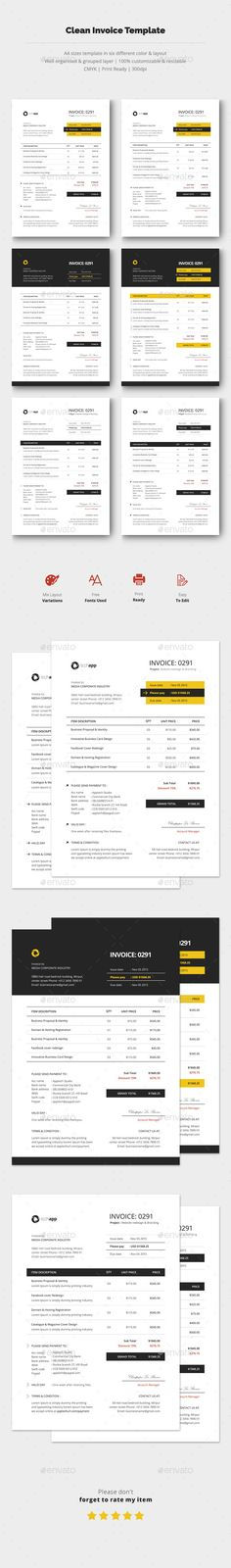Clean Invoice Template PSD #design Download: http://graphicriver.net/item/clean-invoice-template-vol3/14297178?ref=ksioks