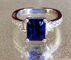 Custom Made ct EC Sapphire and Trapezoid Diamond Accents Custom Made Engagement Rings, Custom Jewelry Design, Sapphire, Fine Jewelry, Jewels, Diamond, Unique, Jewerly, Custom Engagement Rings