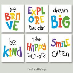 Motivational quotes for kids playroom Playroom Quotes, Playroom Signs, Playroom Wall Decor, Playroom Ideas, Preschool Room Decor, Playroom Colors, Playroom Printables, Colorful Playroom, Kid Playroom