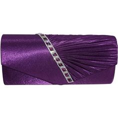 Chicastic Satin Clutch Purse With Rhinestone Bridal Wedding Evening -... ($15) ❤ liked on Polyvore featuring bags, handbags, clutches, handbags purses, special occasion clutches, evening handbags clutches, purple purse and evening hand bags
