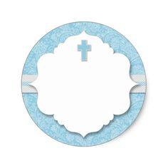 Blue Damask Cross Boy Baptism Christening Favor Clic Round Sticker Baby Event
