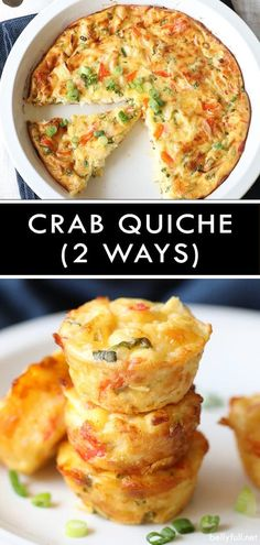 This Crustless Crab Quiche has a creamy texture and is so flavorful. Easy to make in a pie plate or in a mini muffin tin as appetizers - perfect for a Sunday brunch or party! Seafood Quiche, Crab Quiche, Egg Quiche, Crustless Mini Quiche, Muffin Tin Quiche, Shrimp Quiche, Frittata, Fish Recipes, Seafood Recipes