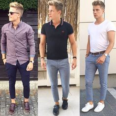 Shirt- Polo -Tee  What is your summer combo ? ------------------------------------- #menswear #casual #summer #look #outfit #style