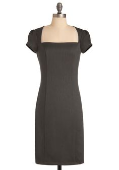 Un-twill We Meet Again Dress in Grey - Work, Pinup, Grey, Solid, Sheath / Shift, Cap Sleeves, Long