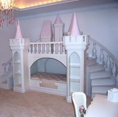 I wonder if you actually have to have two kids in one room to qualify for bunk beds....this looks pretty darn fun - pass on the massive stairs though, not enough room.  Would be a fun basement play area