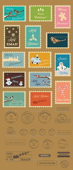 Christmas Postage Stamps #GraphicRiver Christmas postage stamps collection. In this file you will find the .jpg, .eps10 and .ai files. Free fonts included in the zip file. This file is layered, easy to edit text and colors and can be scalable at any dimensions without loss of resolution. If you have any questions please feel free to contact me. Don't forget to rate it! Thanks! Created: 25 November 13 Graphics Files Included: JPG Image #Vector EPS #AI Illustrator Layered: Yes Minimum Adobe CS…