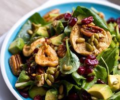Fall Forward salad with dried cranberries and pecans, recipe/photo from Kathy Patalsky
