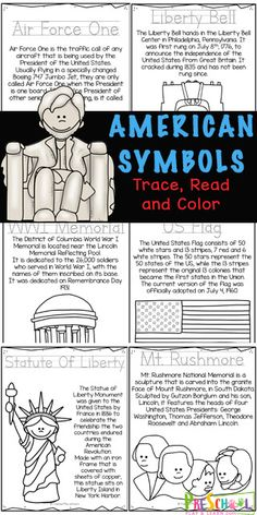 🦅 FREE Patriotic American Symbols for Kids Readers to Color, and Learn