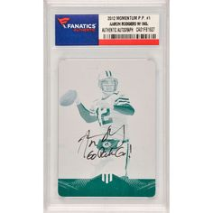 Aaron Rodgers Green Bay Packers Fanatics Authentic Autographed 2012 Panini Momentum Black Printing Plate #1 Card with Go Pack Go Inscription- Limited Edition of 1 - $599.99