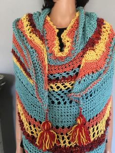 Hand Knit Shawl Triangle Tassels Multicolor Designer Fashion Women Hip Summer  | eBay