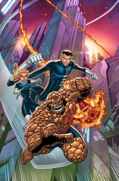 Fantastic Four 2099 variant cover by Ron Lim, colours by Israel Silva * Marvel Comic Character, Comic Book Characters, Marvel Characters, Comic Books Art, Book Art, Marvel Comic Universe, Marvel Dc Comics, Marvel Heroes, Ms Marvel
