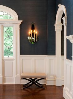 Navy Grasscloth Wallpaper + bright white moulding