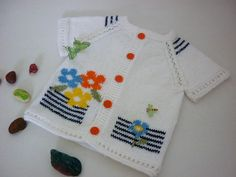 Hand knit baby vest Summer flowers.White cardigan with short
