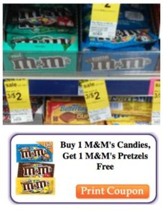 Buy 1 M&M's, Get 1 Pretzel M&M's FREE Coupon + Walgreens Deal! http://www.couponcloset.net/buy-1-mms-get-1-pretzel-mms-free-coupon-walgreens-deal/