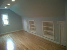 Eaves storage, built in shelving!  Bonus Room Design, Pictures, Remodel, Decor and Ideas - page 4