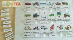 Imprimible para emparejar palabras con pictogramas de Arasaac de vehículos, animales y partes del cuerpo. Hay dos versiones, con la palabra escrita y sin ella.