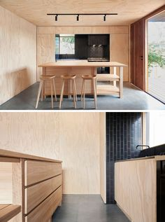 House Siding Ideas – This Modern House Was Clad In Black Fibre Cement Panels With Matching Black Battens - Polished concrete floors are featured th. Plywood House, Plywood Kitchen, Plywood Walls, Plywood Siding, Plywood Interior, Interior Walls, Interior Design, Timber Cladding, Timber Flooring