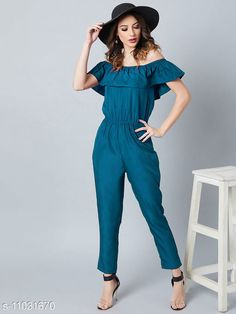 Checkout this latest Jumpsuits Product Name: *Desiner Off Shoulder Ruffled  Jumpsuit* Fabric: Poly Crepe Pattern: Solid Multipack: 1 Sizes:  XS (Bust Size: 32 in, Length Size: 52 in, Waist Size: 27 in, Hip Size: 36 in)  S (Bust Size: 34 in, Length Size: 52 in, Waist Size: 29 in, Hip Size: 38 in)  M (Bust Size: 36 in, Length Size: 52 in, Waist Size: 31 in, Hip Size: 38 in)  L (Bust Size: 38 in, Length Size: 52 in, Waist Size: 33 in, Hip Size: 40 in)  XL (Bust Size: 38 in, Length Size: 52 in, Waist Size: 35 in, Hip Size: 42 in)  XXL (Bust Size: 40 in, Length Size: 52 in, Waist Size: 37 in, Hip Size: 44 in)  Country of Origin: India Easy Returns Available In Case Of Any Issue   Catalog Rating: ★3.9 (242)  Catalog Name: Trendy Fabulous Women Jumpsuits CatalogID_2046951 C79-SC1030 Code: 214-11031670-2121