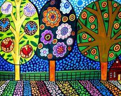 Kunst landschap Tree ART Folk Art Art Print door HeatherGallerArt