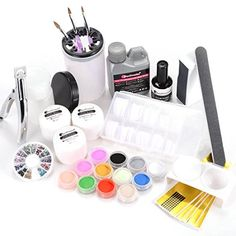 Full Primer Nail Art French Liquid Glitter Tips Acrylic Powder Brushes Tool Kit ** You can find more details by visiting the image link.