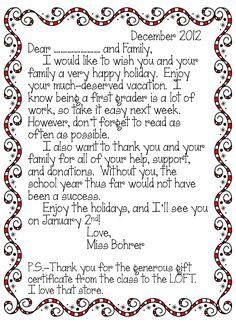 Thank You Letter  Holiday  From Teacher To Students  Students