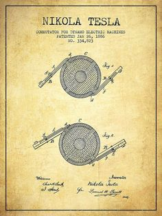 A vintage Nikola Tesla Commutator for Dynamo Electric Machines, Patent Drawing From 1886 on Vintage grunge background. Nikola Tesla Patents, Nikola Tesla Inventions, Nicola Tesla, Tesla Technology, Tesla Quotes, Tesla Coil, Anti Gravity, Patent Drawing, Electronic Engineering