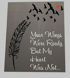 Wings were Ready wood sign, but my heart was not, Cardinal, Heaven, Wings ready, Heart was not, Memorial, Because someone we love,  Heaven
