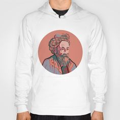 American Apparel hoody with portrait of of Omar Khayyam, Persian mathematician, astronomer, philosopher, and poet, portrait in red and blue, men's and women's hoody.