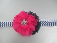 Hot Pink & Navy Blossom Flowers on a Chevron by TutuCuteBowtiqueFL