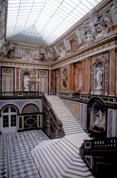 State Staircase, an exact replica of the demolished Ambassador's Staircase of Louis XIV at Versailles recreated for King Ludwig II of Bavaria at Herrenchiemsee, Bavaria, Germany