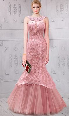 f3735de647 Mermaid Front Keyhole Dusty Pink Tulle Lace Prom Dress Pearl Beaded Back