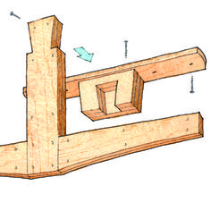 Learn how to build a simple overhead lumber storage rack with this free PDF plan download.