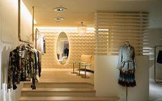 We are a global and creative design studio in Geneva, Tokyo and Beijing. Sequin Coats, Japan Interior, Retail Facade, Beige Curtains, Interior Architecture, Interior Design, Beige Sofa, Aesthetic Design, Retail Space