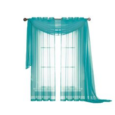 Window Elements Diamond Sheer Voile 56 in. W x 216 in. L Curtain Scarf in Turquoise