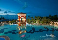"Sandals Grande Antigua has been voted the ""World's Most Romantic Resort"" year after year, this beautiful resort is located on Antigua's best and most famous beach, Dickenson Bay. From meandering paths cooled by the Trade Winds and lined by lush greenery to white sand beaches with breathtaking sunsets - mark a milestone in your love story at this romantic resort."