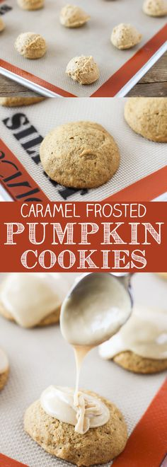 Super soft Caramel Frosted Pumpkin Cookies loaded with pumpkin pie spice and topped with a homemade caramel frosting. Brownie Recipes, Cupcake Recipes, Cookie Recipes, Baking Recipes, Dessert Recipes, Soft Pumpkin Cookies, Pumpkin Dessert, Pumpkin Recipes, Fall Recipes